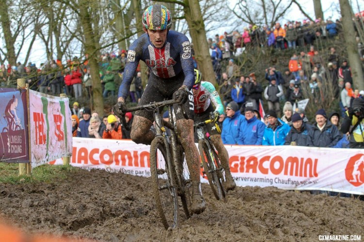 Gage Hecht overcame a slow start to finish ninth. U23 Men. 2018 UCI Cyclocross World Championships, Valkenburg-Limburg, The Netherlands. © Bart Hazen / Cyclocross Magazine