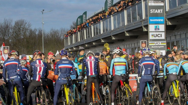 U23 men get ready to start. U23 Men. 2018 UCI Cyclocross World Championships, Valkenburg-Limburg, The Netherlands. © Bart Hazen / Cyclocross Magazine