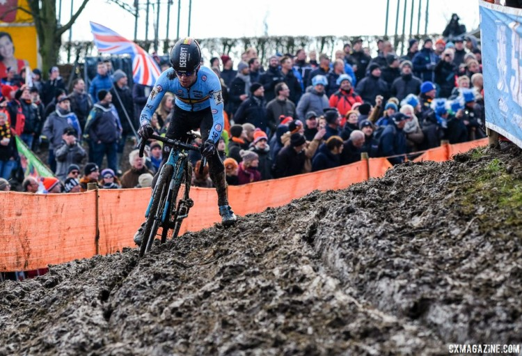 Eli Iserbyt took control of the race in the second lap and did not look back en route to his second U23 Worlds title. U23 Men. 2018 UCI Cyclocross World Championships, Valkenburg-Limburg, The Netherlands. © Gavin Gould / Cyclocross Magazine