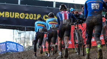 Gage Hecht worked his way back from a slow start to finish ninth. U23 Men. 2018 UCI Cyclocross World Championships, Valkenburg-Limburg, The Netherlands. © Gavin Gould / Cyclocross Magazine