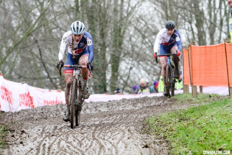 The favorite and the understudy looked destined for a British 1-2 early on. Evie Richards and Harriet Harnden. U23 Women. 2018 UCI Cyclocross World Championships, Valkenburg-Limburg, The Netherlands. © Bart Hazen / Cyclocross Magazine