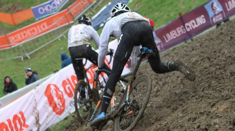 Right now, the course in Valkenburg is looking pretty muddy. 2018 Valkenburg Cyclocross World Championships - Thursday Practice. © B. Hazen / Cyclocross Magazine