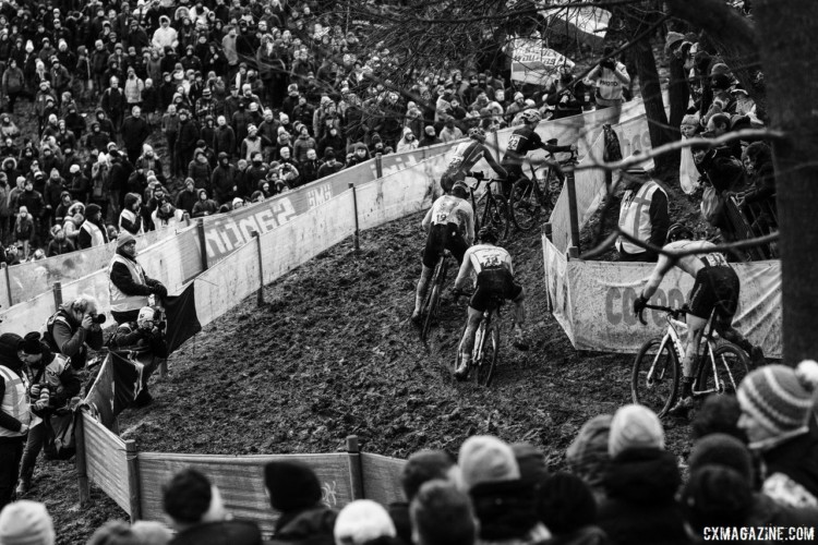 Riders try to find the right rut or line around one of the many off-camber turns. 2018 Cyclocross World Championships, Valkenburg-Limburg. © Gavin Gould / Cyclocross Magazine