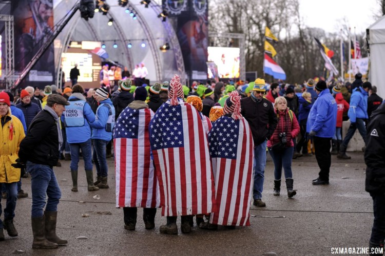 This group of U.S. fans was tough to miss. 2018 Cyclocross World Championships, Valkenburg-Limburg. © Gavin Gould / Cyclocross Magazine
