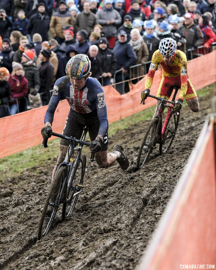 Gage Hecht rides a rut en route to a ninth-place finish in the U23 Men's race. 2018 Cyclocross World Championships, Valkenburg-Limburg. © Gavin Gould / Cyclocross Magazine