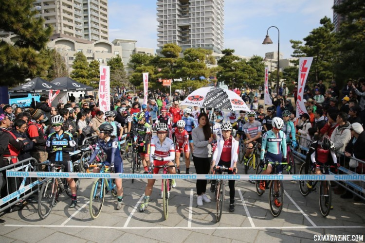 The Elite Women wait for the start of their race. 2018 Tokyo Cyclocross. © So Isobe / Cyclocross Magazine