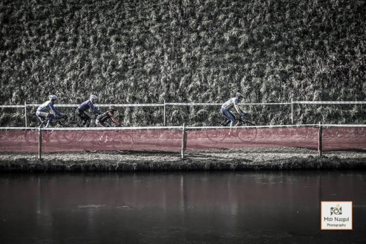 Canal banks are used for elevation at Hulst. Corey Coogan Cisek rider diary. © Nazgul MTB / Cyclocross Magazine
