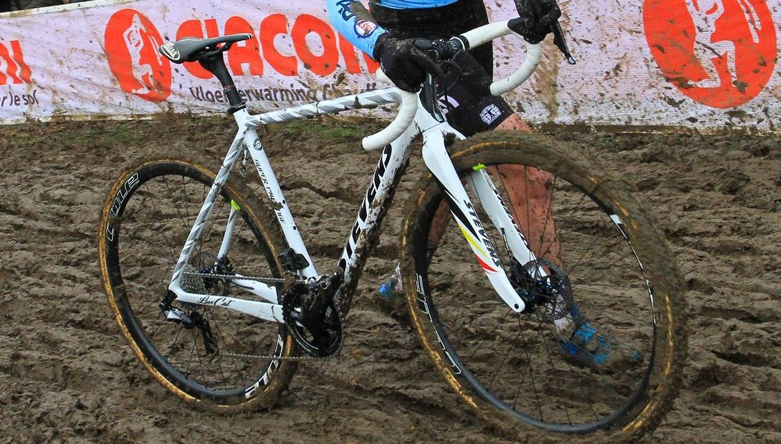 Cant's A bike at Worlds was white with a black saddle. 2018 Cyclocross World Championships, Sanne Cant's Stevens Super Prestige. © B. Hazen / Cyclocross Magazine