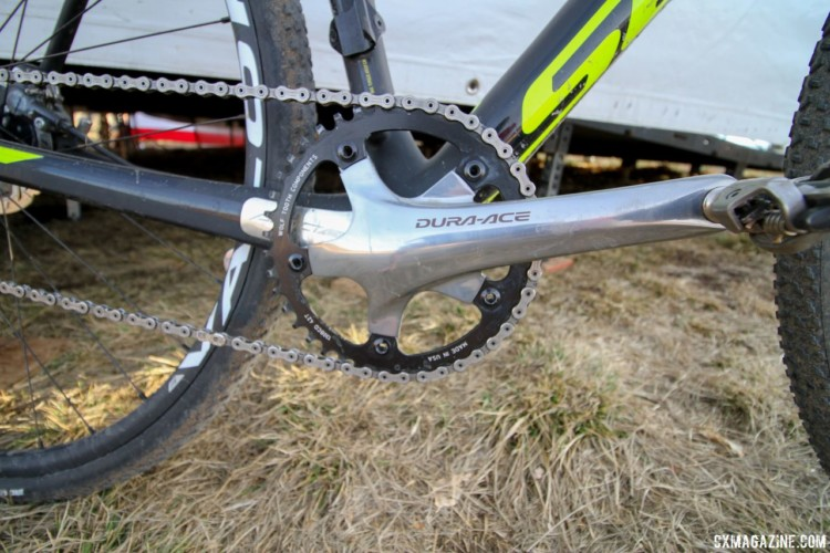 Wells used an older Shimano Dura-Ace 7800 crankset for his singlespeed configuration. Jake Wells' 2018 Nationals-Winning Singlespeed Scott Addict CX. © D. Mable / Cyclocross Magazine