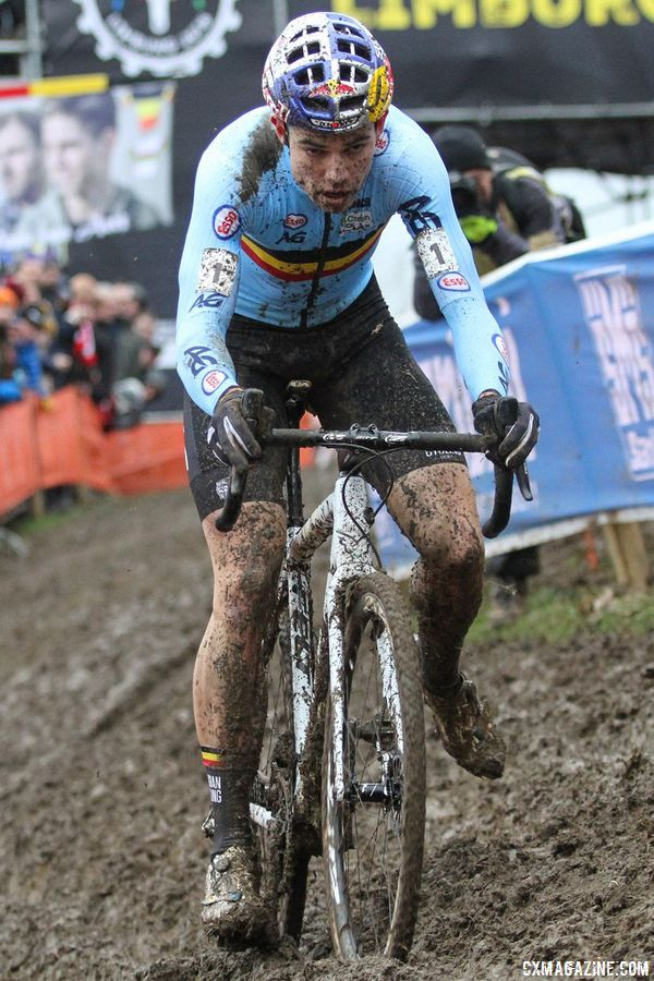 Wout van Aert rode two frames at Worlds. His A bike was an all-white (under the mud) frame. Elite Men. 2018 UCI Cyclocross World Championships, Valkenburg-Limburg, The Netherlands. © Bart Hazen / Cyclocross Magazine