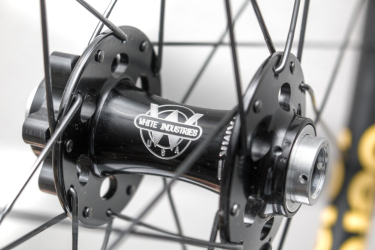 White Industries hubs are not a standard option for complete Derby wheels, but our test set was built with them. Other available hubs save weight. Derby CX 23i carbon tubeless wheels. © Cyclocross Magazine
