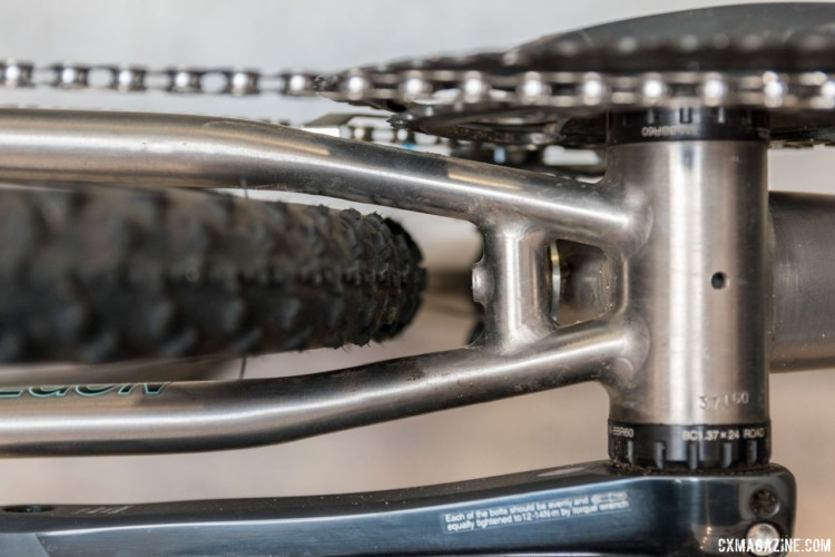 Tire clearance was not a priority for the race-oriented PDXCX, and we think it can fit 33-38mm tires. Sage Titanium PDXCX Cyclocross Bike. © C. Lee / Cyclocross Magazine