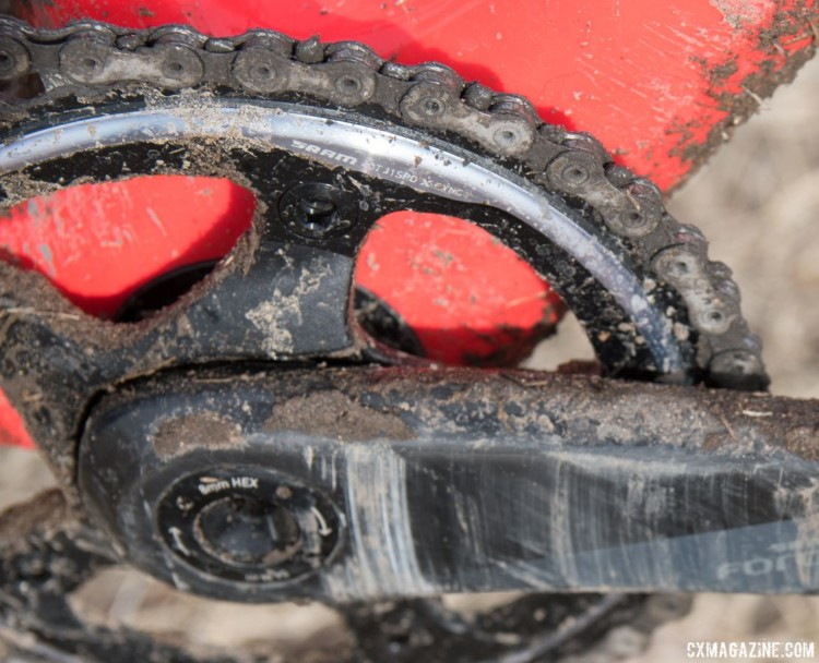 Blevins ran a SRAM X-Sync 40t front chain ring with his Force 1 crankset 2018. Cyclocross National Championships. © C. Lee / Cyclocross Magazine