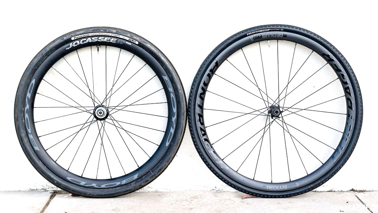 With the appropriate tires mounted, the 650b Boyd Jocassee wheel has the same rolling circumference as the 700c Bontrager Aeolus 3. Boyd Jocassee 650b Carbon Tubeless Gravel Wheelset. © C. Lee / Cyclocross Magazine