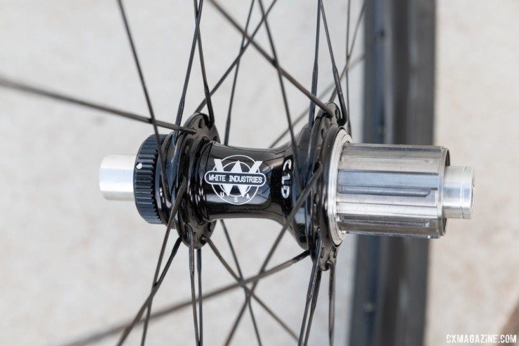 Our test wheel had a White Industries CLD titanium hub with 3 pawls and 48 points of engagement. Boyd Jocassee 650b Carbon Tubeless Gravel Wheelset. © C. Lee / Cyclocross Magazine