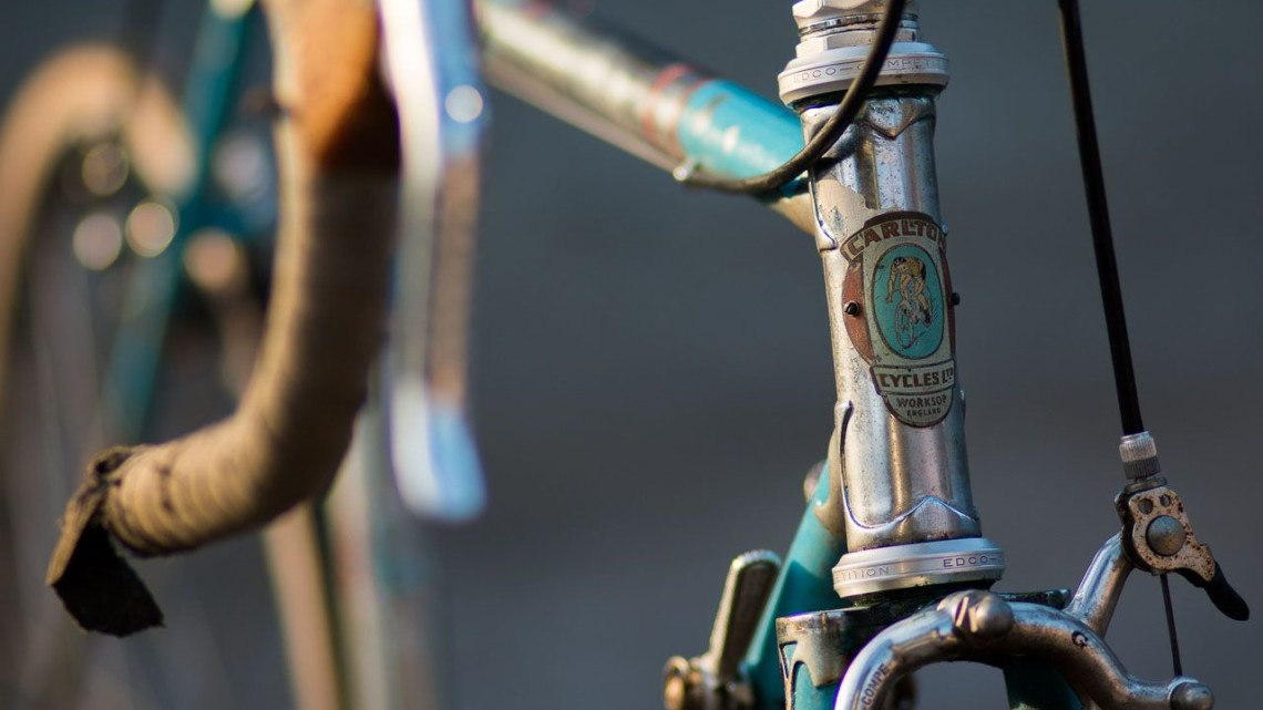 Bikes from the 60s, 70s and 80s are often great candidates for a gravel bike on a budget. This 1964 Carlton Flyer with Campagnolo Nuovo Record was just $100 and can clear 38mm tires. © Cyclocross Magazine