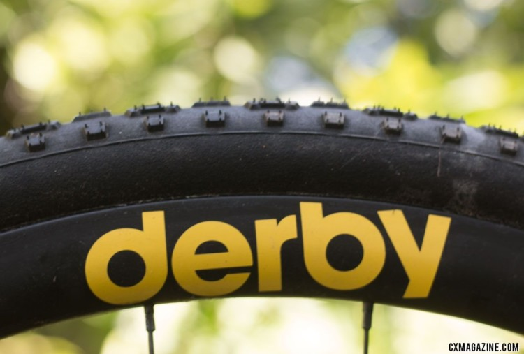 Derby Rims CX 23i carbon tubeless cyclocross / gravel rim turns a Panaracer 35mm Regacross tire into a high-volume 38mm option. © Cyclocross Magazine
