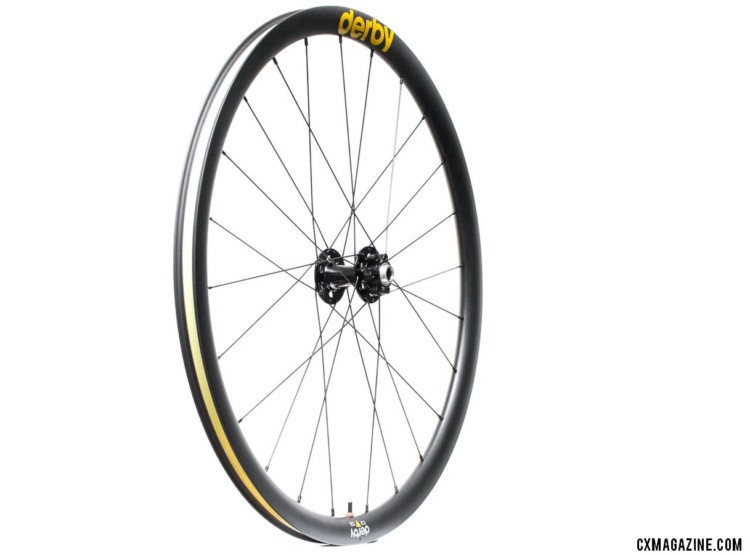 Derby Rims produces a variety of rims for road, cyclocross, and mountain bike use. It offers complete wheels starting at $1735. Derby CX 23i carbon tubeless wheels. © Cyclocross Magazine