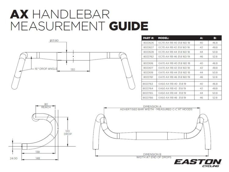 Easton AX handlebar measurement chart. photo: courtesy