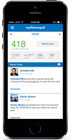 Apps such as My Fitness Pal can help you monitor your food intake. Photo: My Fitness Pal