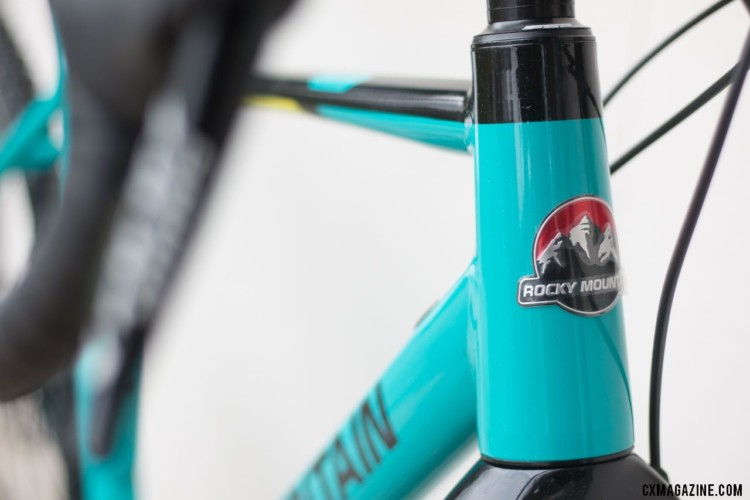 Our Medium test bike has a 16cm head tube emblazoned with an on-brand logo. Rocky Mountain Solo gravel / adventure bike. © Cyclocross Magazine