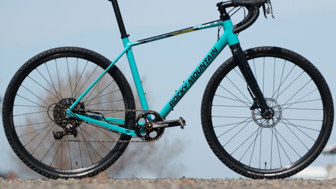 The $1,900 Rocky Mountain Solo 50 comes with a SRAM Apex 1 groupset and plenty of clearance for wide 700c and 650b tires. Rocky Mountain Solo gravel / adventure bike. © Cyclocross Magazine