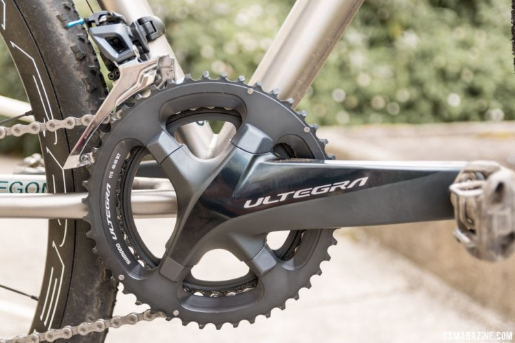 We had our test bike built with a Shimano Ultegra 8000 groupset. The crank has a large cross-section. Sage Titanium PDXCX Cyclocross Bike. © C. Lee / Cyclocross Magazine