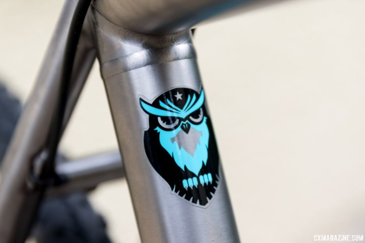 The titanium frame is a 3V/2.5Al alloy. The seat tube features the company's owl logo. Sage Titanium PDXCX Cyclocross Bike. © C. Lee / Cyclocross Magazine