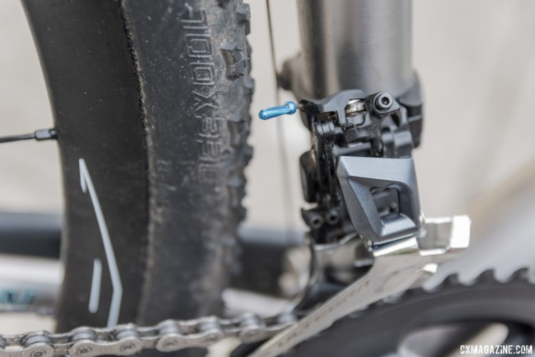 New Shimano Ultegra 8000 front derailleur has a new linkage. The arm no longer swings into the rear tire, which was sometimes a problem with the 6800 model. Shimano Sage Titanium PDXCX Cyclocross Bike. © C. Lee / Cyclocross Magazine