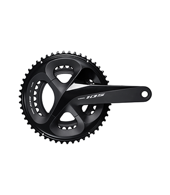 The new 105 crankset has a narrower profile, but does not come in a cyclocross-friendly 46/36t option. 2018-2019 Shimano 105 R7000 Groupset. photo: Shimano