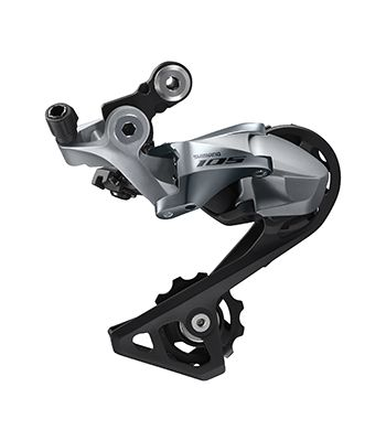 The long cage derailleur has room for the 11-34t cassette that Shimano has added to the 105 groupset. 2018-2019 Shimano 105 R7000 Groupset. photo: Shimano