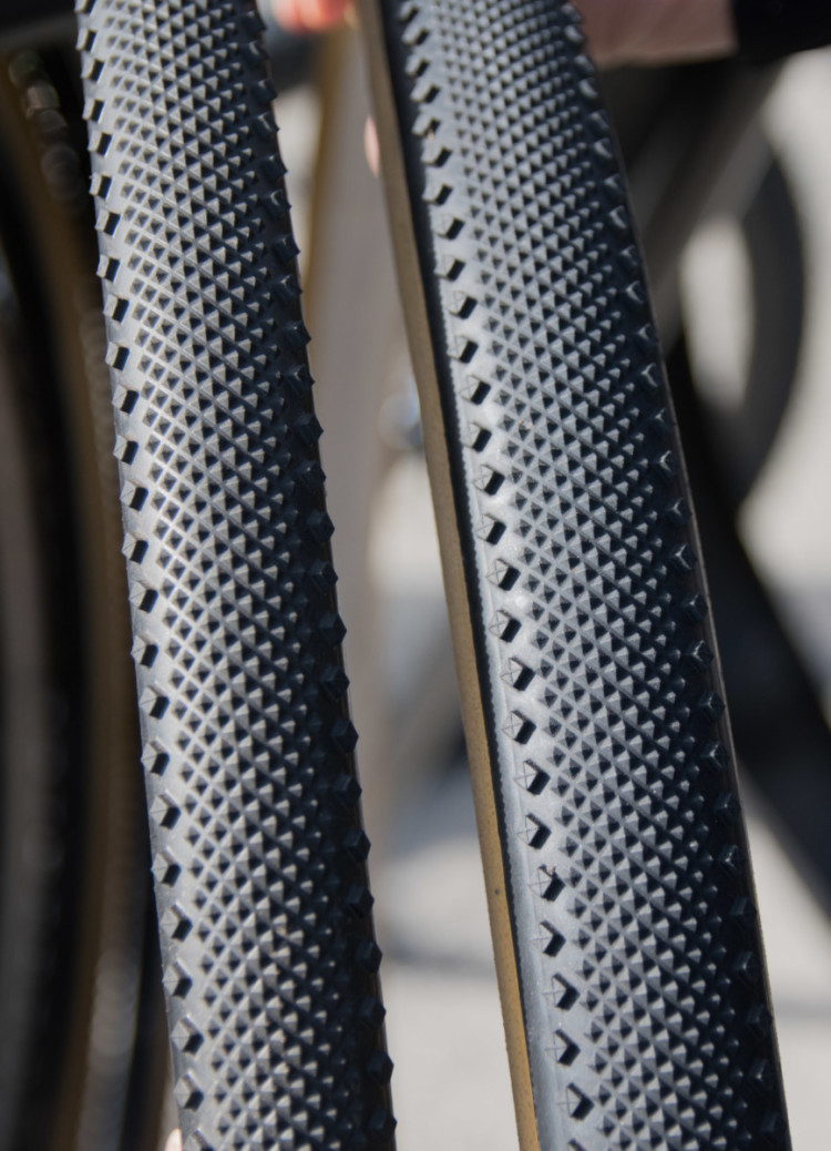 Challenge is pumping its Dune cyclocross tread up to 40mm and offering it as a tubular gravel tire. New Challenge Tubeless-Ready and Tubular Gravel Tires. 2018 Sea Otter Classic. © Cyclocross Magazine