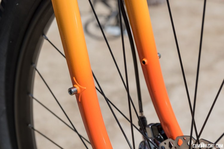 Low-rider front rack mounts are threaded through the blade of the steel fork. All-City Steel Gorilla Monsoon Gravel / Adventure Bike. 2018 Sea Otter Classic. © C. Lee / Cyclocross Magazine