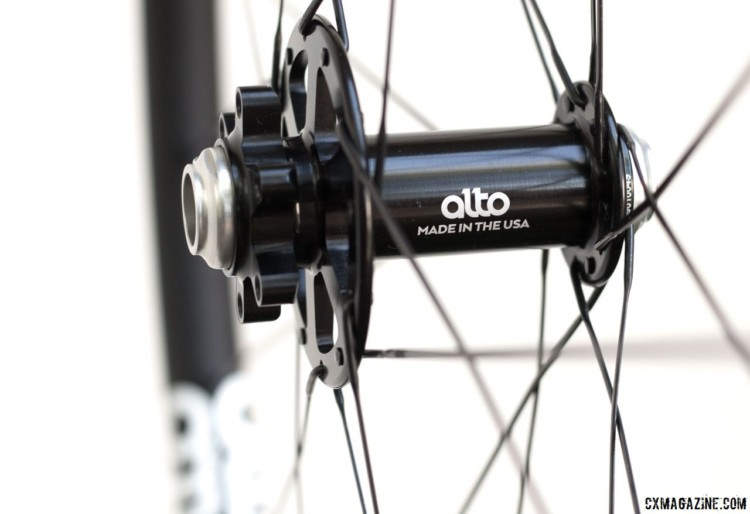 The flange on the front brake side is larger. Alto Cycling's alloy AMX29 cyclocross / gravel disc brake wheels. © Cyclocross Magazine