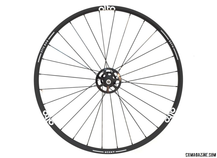 Our Alto Cycling alloy AMX29 cyclocross / gravel disc brake test wheels came with radial drive-side spokes, but the company has since moved to two-cross. © Cyclocross Magazine