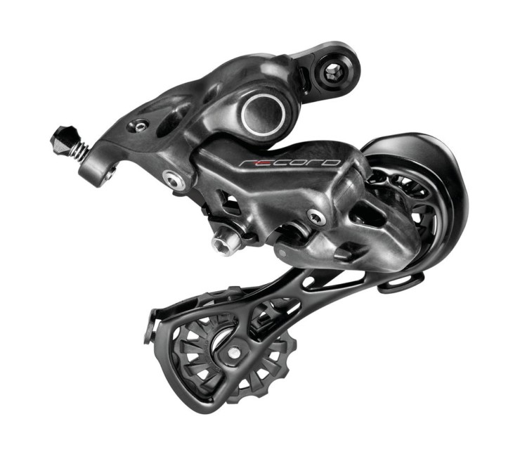 The Record 12-speed derailleur is designed for compatibility with 11-speed setups. Campagnolo 12-speed Record groupset. photo: Campagnolo