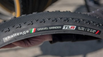 Challenge's Gravel Grinder will be available in tubeless-ready form, including this new high-volume 42mm option. New Challenge Tubeless-Ready and Tubular Gravel Tires. 2018 Sea Otter Classic. © Cyclocross Magazine