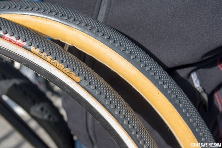Challenge's new 40mm tubular gravel tire has the Dune tread but a new name. New Challenge Tubeless-Ready and Tubular Gravel Tires. 2018 Sea Otter Classic. © Cyclocross Magazine