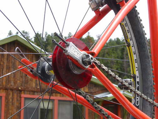 A look at a set of red Discos mounted up on a singlespeed setup. photo: Whit Johnson