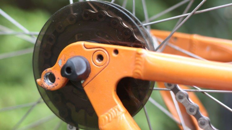 """Throwback Thursday: If you had vertical drops and were lucky to find the right """"magic gear,"""" Discos helped keep the chain on as the chain stretched. © Cyclocross Magazine"""