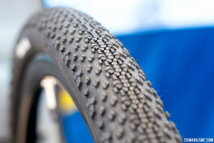 The 40mm Connector has a more aggressive tread with a tight center and big side knobs. New Goodyear County and Connector Tubeless Gravel Tires. 2018 Sea Otter Classic. © Cyclocross Magazine