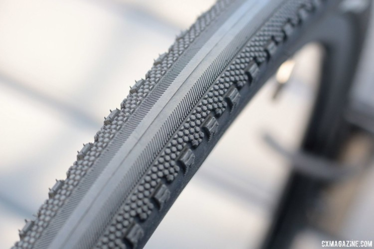 The 35mm County has a smooth center and side knobs. New Goodyear County and Connector Tubeless Gravel Tires. 2018 Sea Otter Classic. © Cyclocross Magazine