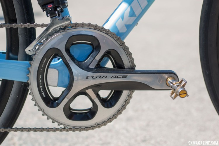 Wyman's gravel bike has a Dura-Ace crankset with a 52/36t gear combination. She runs Crankbrothers Egg Beater pedals. Helen Wyman's new KindHuman Kensuke gravel bike. 2018 Sea Otter Classic cyclocross and gravel new products. © Cyclocross Magazine