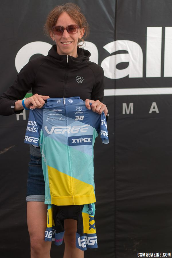Helen Wyman shows off her new Xypex - Verge Sport kit. Helen Wyman's new KindHuman Kensuke gravel bike. 2018 Sea Otter Classic cyclocross and gravel new products. © Cyclocross Magazine