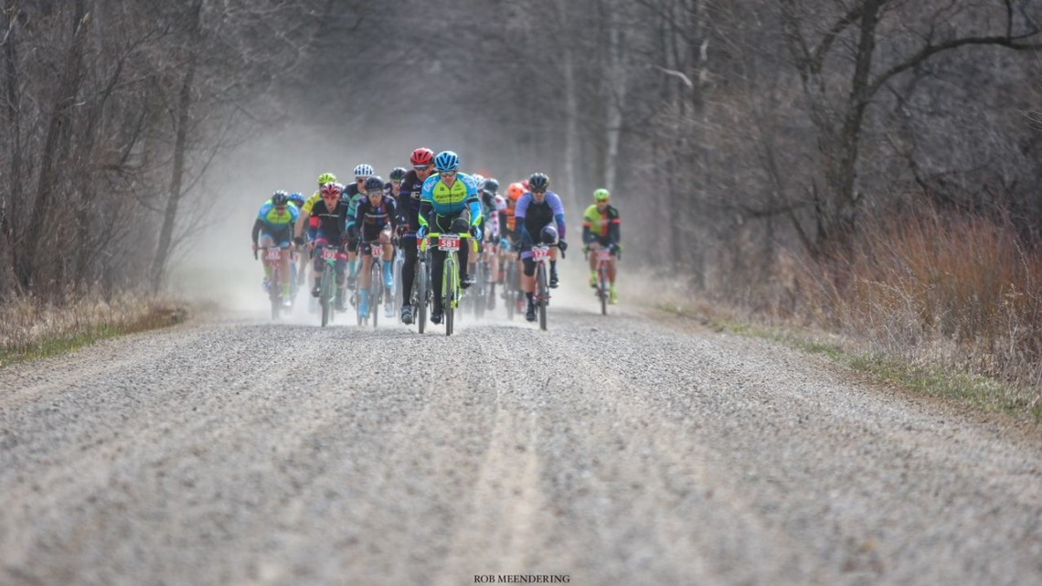 The course at the 2018 Barry-Roubaix was dry and fast. 2018 Barry-Roubaix Gravel Race © Rob Meendering Photo