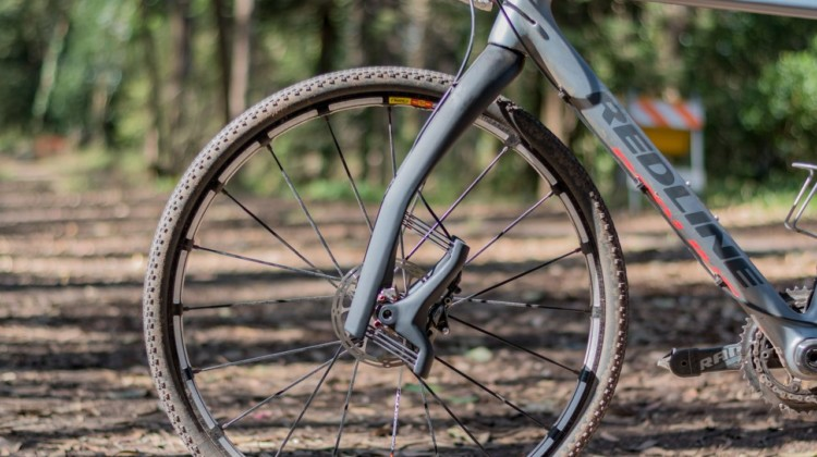 The carbon $690 Lauf Grit suspension fork provides 30mm of travel. Lauf Grit suspension fork. © C. Lee / Cyclocross Magazine