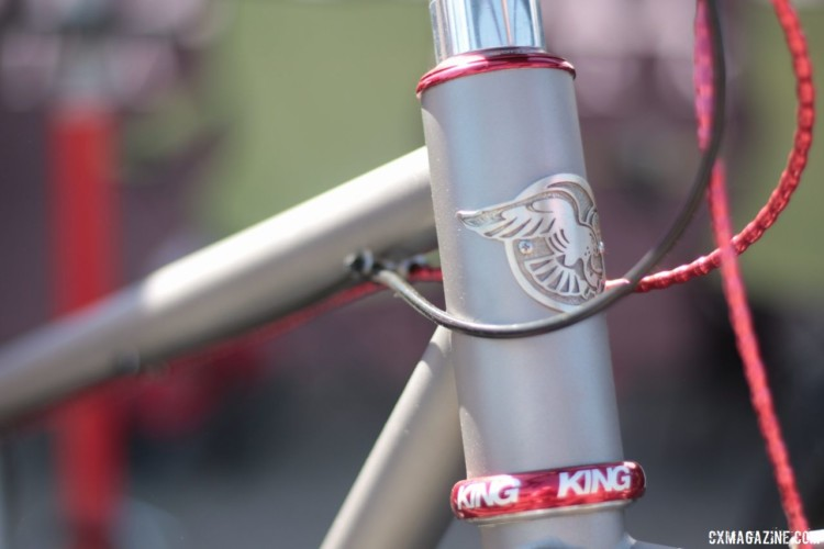 The company brought back the retro Merlin head badge. Merlin Titanium Adventure Bike. 2018 Sea Otter Classic. © Cyclocross Magazine