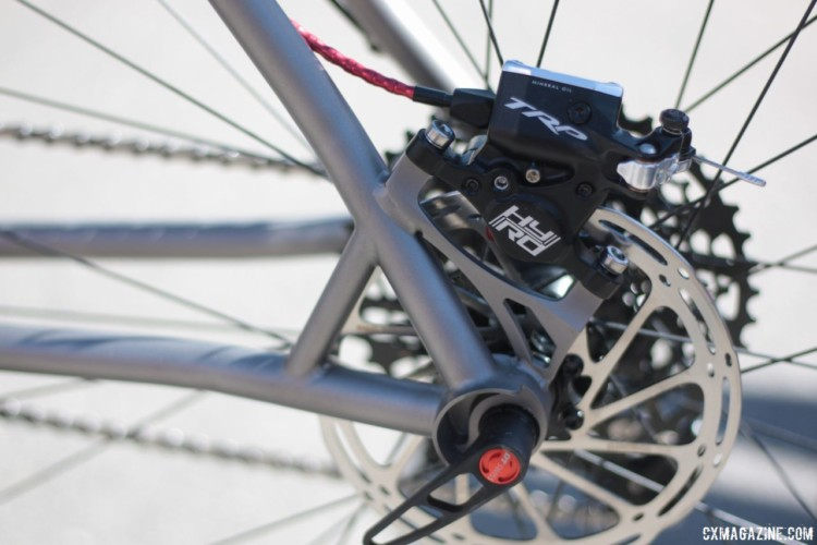 Merline's bikes come with post mount disc brakes, but the company will build the frames with flat mounts if you ask. Merlin Titanium Adventure Bike. 2018 Sea Otter Classic. © Cyclocross Magazine