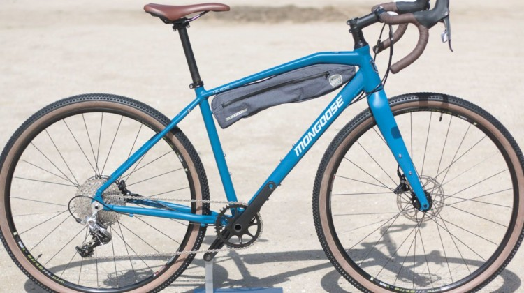 The $1,800 guide expert is outfitted for bikepacking and long adventures, with high-volume tires and plenty of mounts for gear. Mongoose Guide Expert Adventure / Touring Bike. 2018 Sea Otter Classic. © Cyclocross Magazine