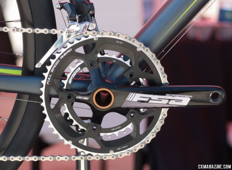 The Vantage RX1 comes with a 50/34t FSA Gossamer crankset. Schwinn Vantage RX1 Gravel Bike. 2018 Sea Otter Classic. © Cyclocross Magazine